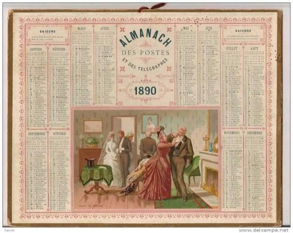 almanach des postes 1890 avec illustration